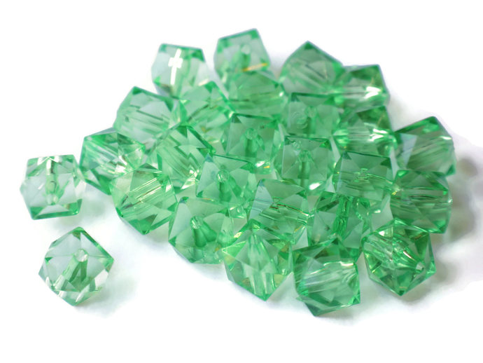 26 12mm Green Cube Beads Faceted Cube Beads Jewelry Making Beading Supplies