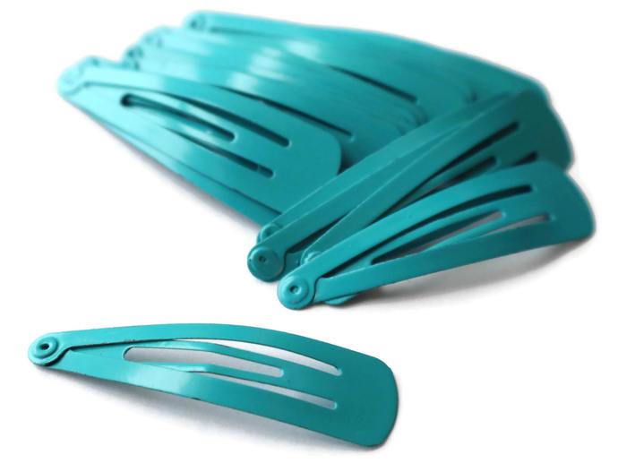 20 47mm Cyan Blue Barrettes Hair Decor Barrette Blanks Iron Clips Snap Barrettes