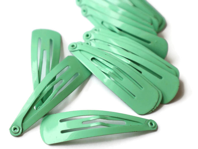 20 47mm Light Mint Green Barrettes Hair Decor Barrette Blanks Iron Clips Snap
