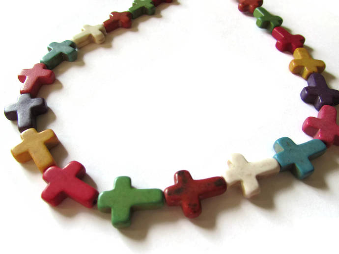 24 16mm Howlite Cross Beads Gemstone Beads Dyed Beads Mixed Color Beads