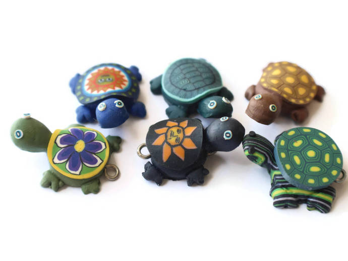 4 Mixed Turtles Assorted Shell Turtle Charms Tortoise Links Beads Jewelry Making