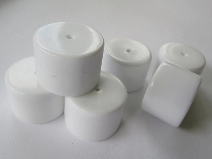 8 15x20mm White Tube Beads Big Vintage Lucite Beads Large Beads Chunky Beads