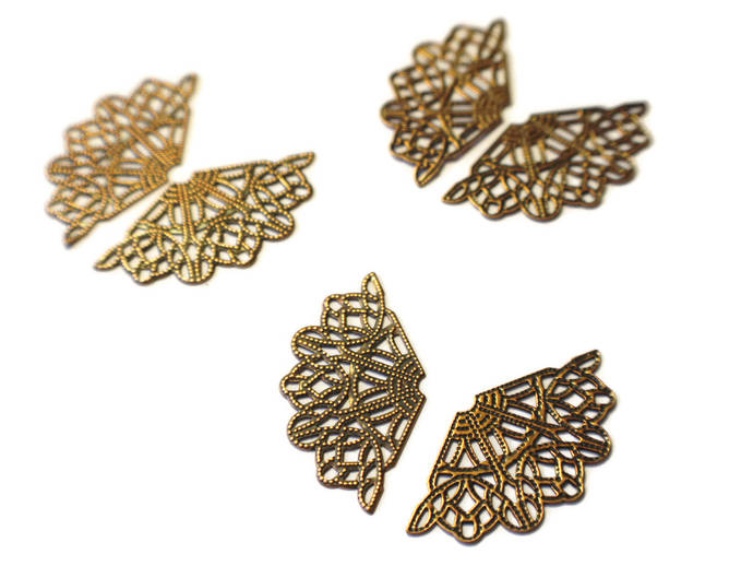 3 Pair (6) Filigree Findings Metal Wing Charms Antique Copper Plated Finding