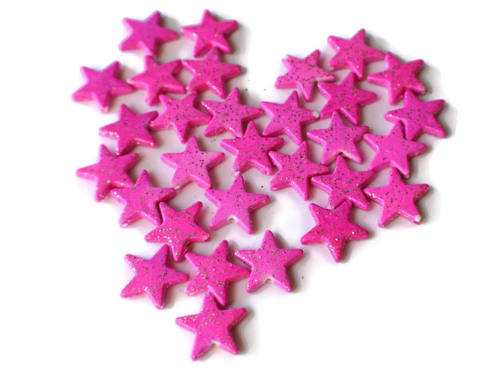 30 16mm Sparkly Star Beads Plastic Beads You Pick Silver Star Beads Pink Star