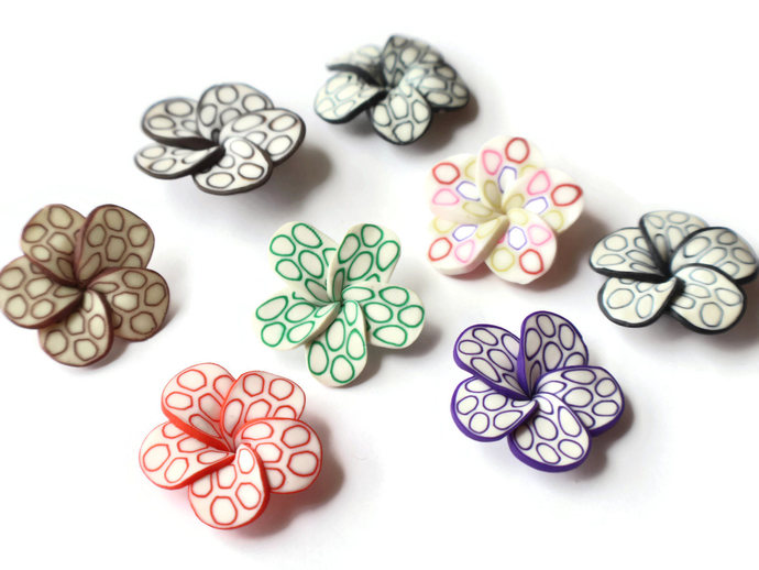 Large Mixed Color Polymer Clay Flower Beads Hibiscus Beads or Plumeria Beads