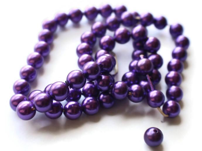 62 8mm Purple Pearls Vintage Beads Plastic Pearls Faux Pearl Beads Fake Pearls