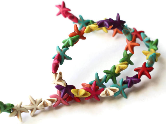 39 15mm Howlite Starfish Beads Gemstone Beads Dyed Beads Mixed Color Beads
