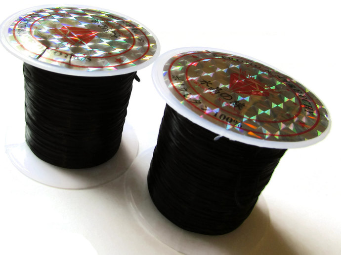 3 Rolls Stretchy Cord 0.8mm Black Elastic Thread 10 Meters per roll of String