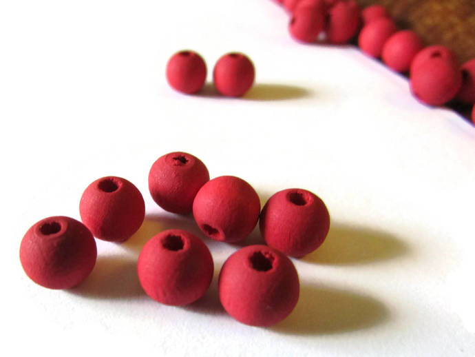 100 7mm Red Wood Beads Smooth Round Beads Ball Beads Wooden Beads Jewelry Making