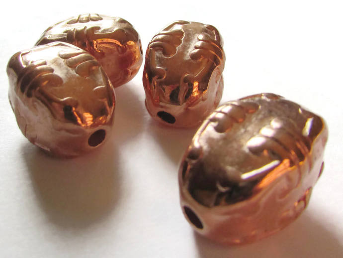 4 23mm Puffed Rectangle Beads Vintage Red Copper Plated Plastic Bead Jewelry