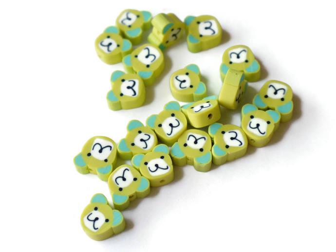 20 Yellow Bear Head Beads Animal Beads Polymer Clay Beads Cute Beads Kawaii