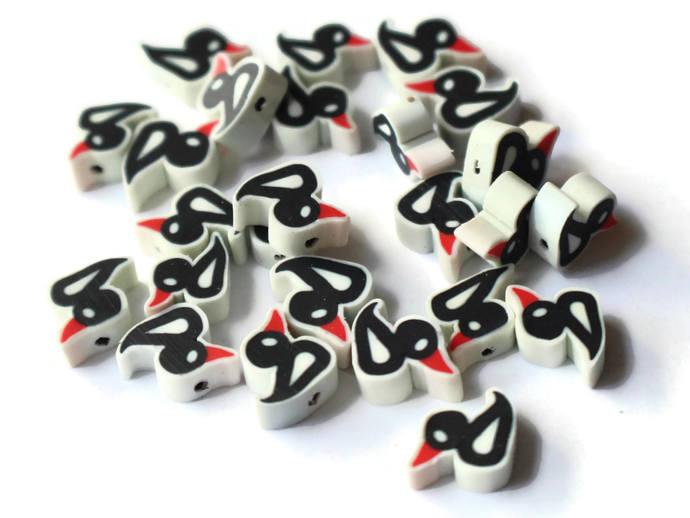 Black Duck Beads Clay Duck Beads Polymer Clay Beads Black Bird Beads Duckling