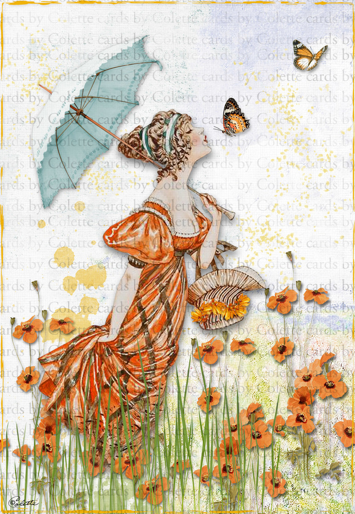 Lady and Orange Poppies Digital Collage Greeting Card1111