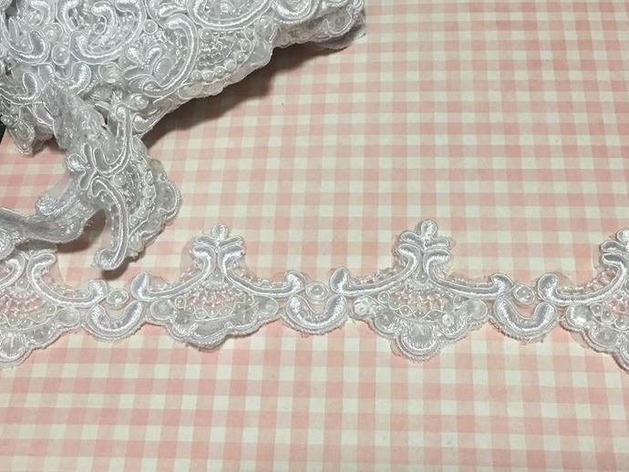 "Item #T035 ~ 2 1/4"" White Embroidered Wedding Trim with Sequin & Pearls ~ White"
