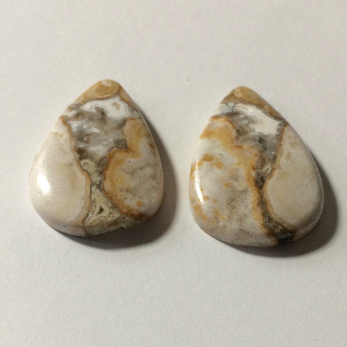 Jasper Gemstone Cabochon Pear 27x18mm FOR TWO