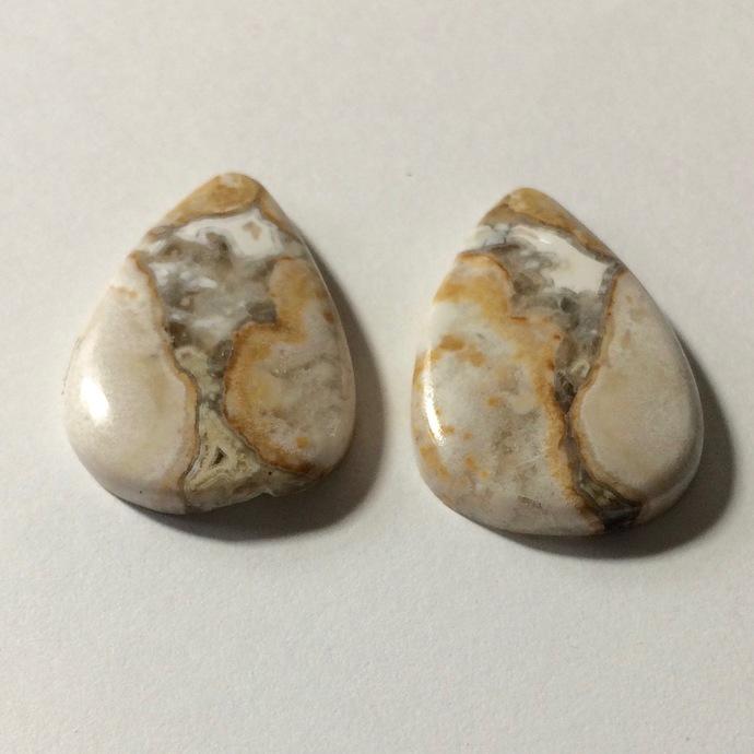 Jasper Gemstone Cabochon Pear 27x18mm FOR TWO
