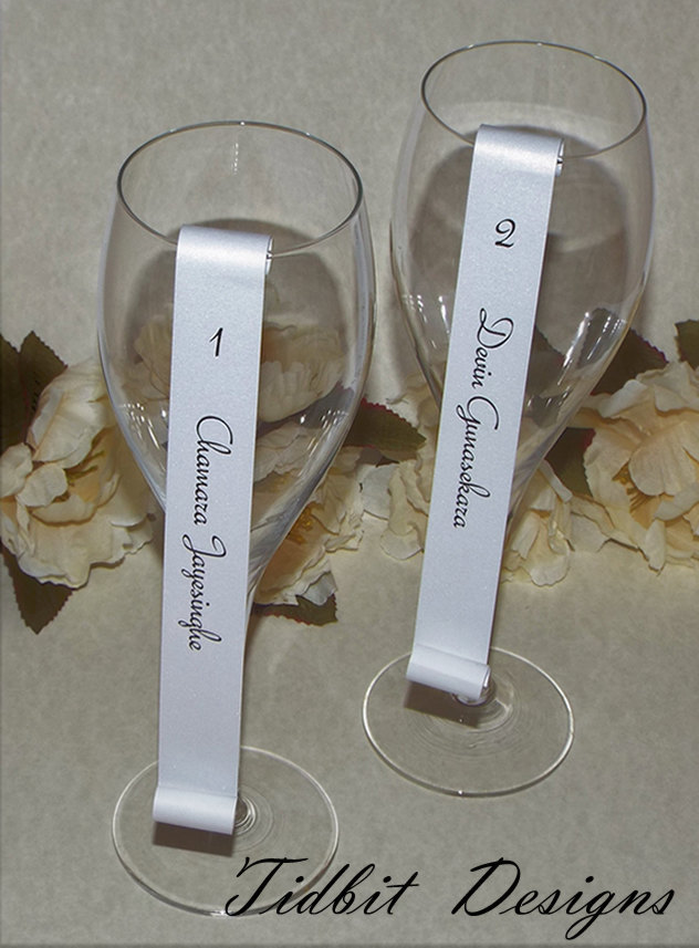 100 Large Number Champagne Flute Escort Seating Scrolls - Wedding / Dinner Party