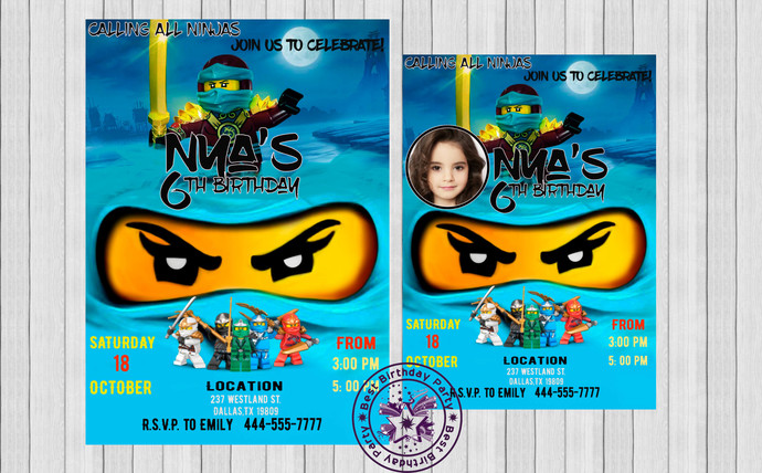 Nya Lego Ninjago Invitation Girl Birhday Invites Birthday