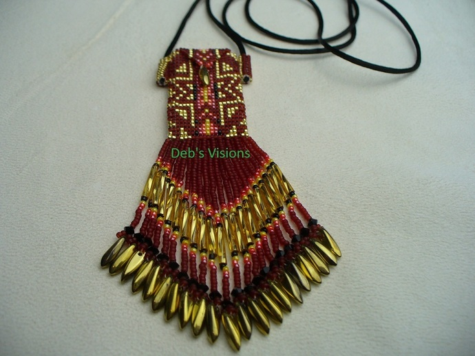 Native American Style Square Stitched Beaded Blanket design Fully Beaded Amulet