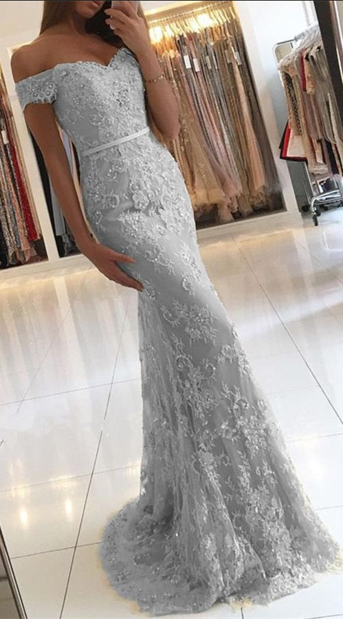 Mermaid Lace Long Prom Dressoff The Shoulder By Prom Dresses On