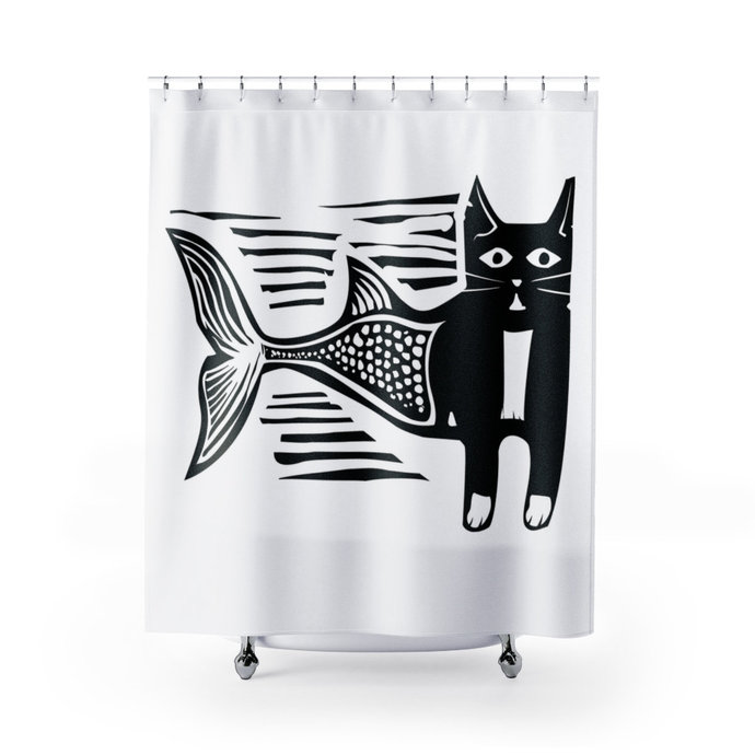 Cat Mermaid Cat Shower Curtain Mercat Shower Curtain Bathroom Decor Mermaid