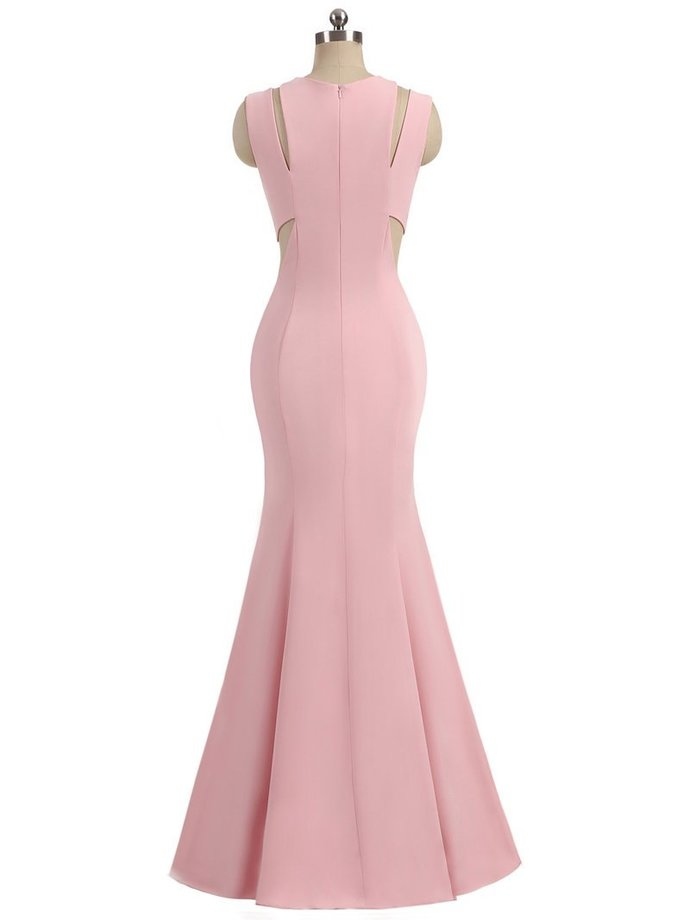 Halter Pink Jersey Mermaid Long Prom Dresses,Simple Formal Dresses