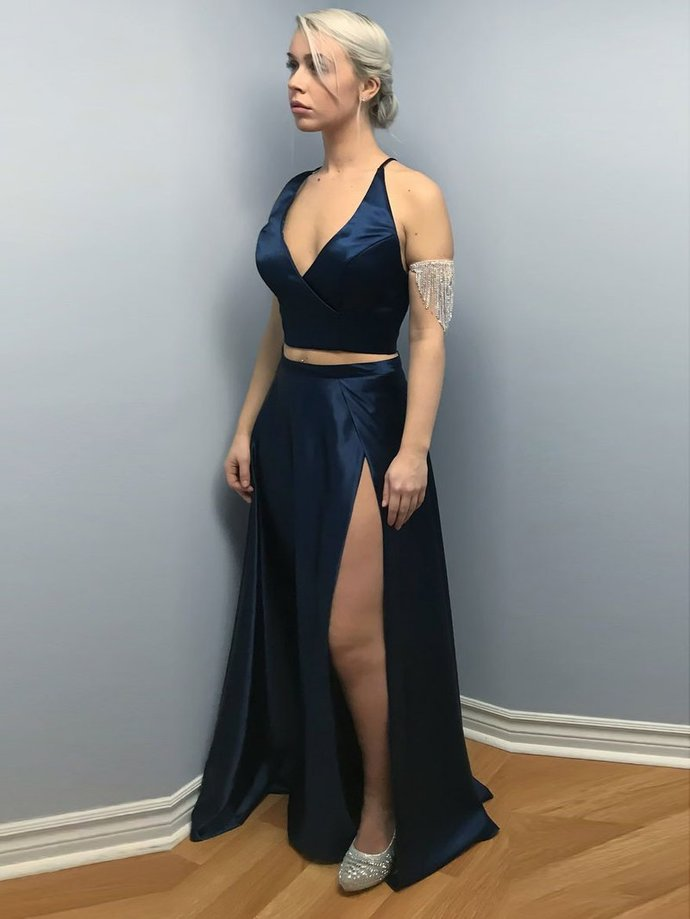 4276d9192099 Two Piece Navy Blue Semi Formal Evening Dresses Spaghetti Strap Prom Dress  with