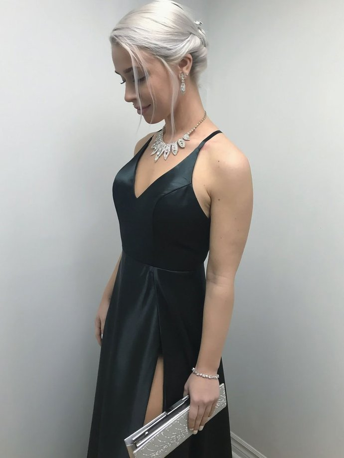Spaghetti Strap Cheap Black Prom Dresses with by prom dresses on
