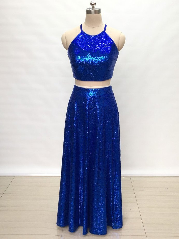 Two Piece Halter Royal Blue Prom Dresses Open by prom dresses on