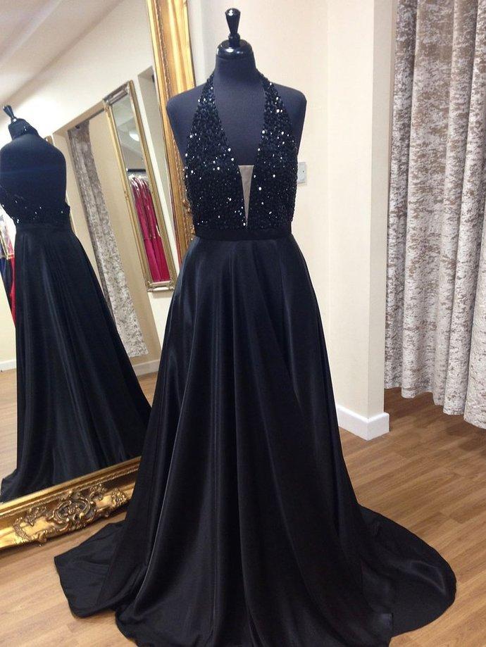 Long Beaded Halter Black Prom Dresses V-Neck by prom dresses on Zibbet