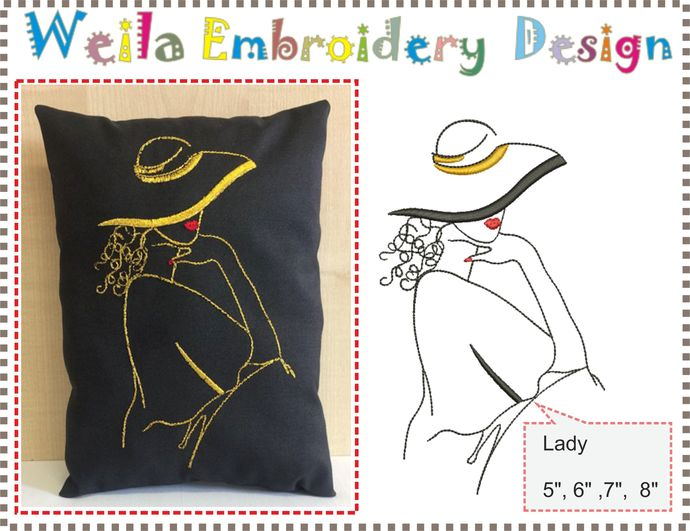 Lady Machine Embroidery Design Lovely Picture Pillow Pattern For Clothes T Shirt Ideas Pes Jef