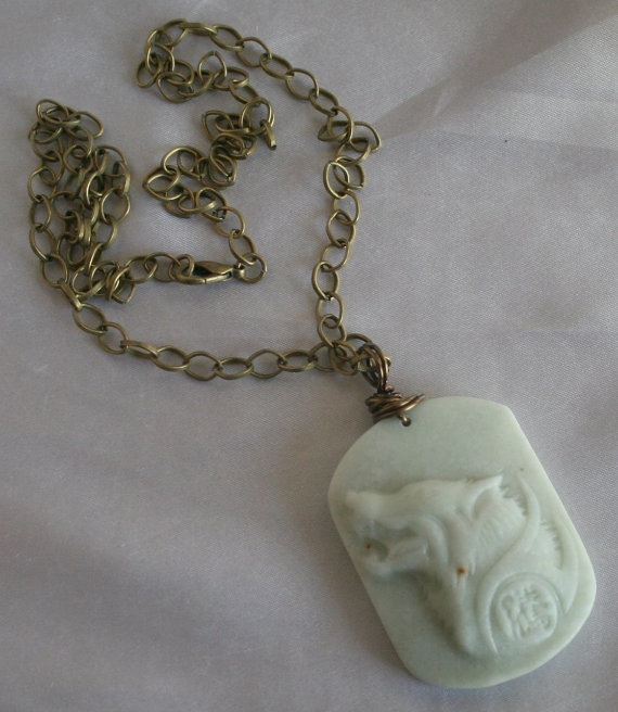 Mens Hand Carved Howling Wolf Pendant Statement Necklace, Chunky Jade Gemstone