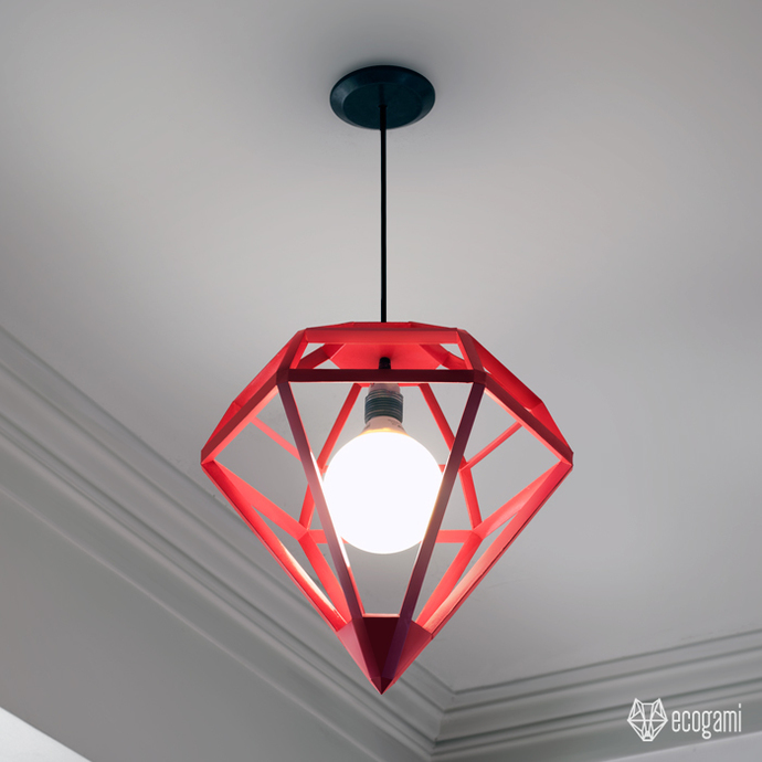 Make your own DIAMOND shaped lampshade | DIY papercraft project | Modern,