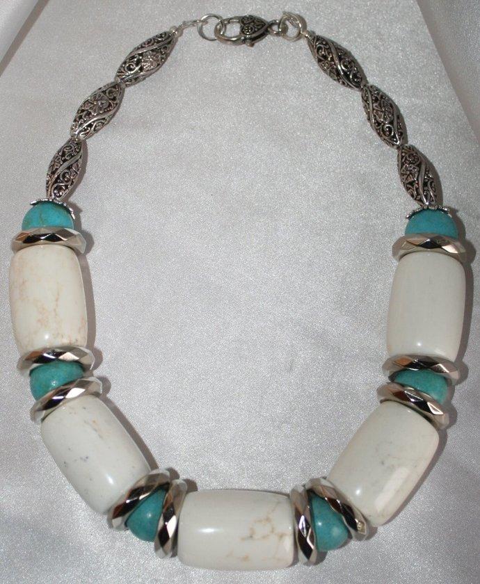 White Turquoise Magnesite Bold Gypsy Southwestern Tribal Style Statement