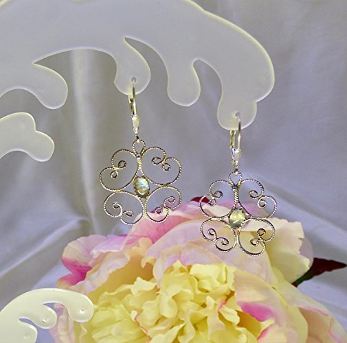 Lacey Sterling Silver Filigree Rainbow Moonstone Earrings