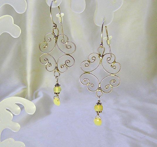 Sparkling Filigree Opal Sterling Silver Earrings