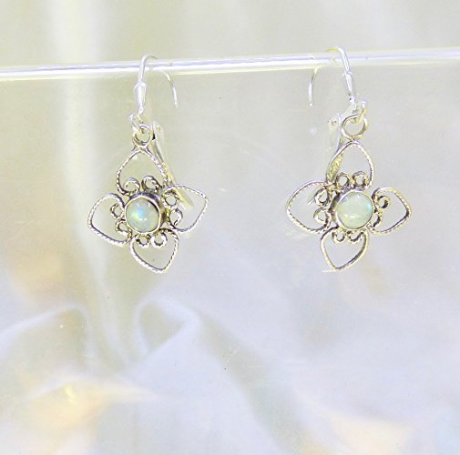 Moonstone Evening Flower Sterling Silver Earrings