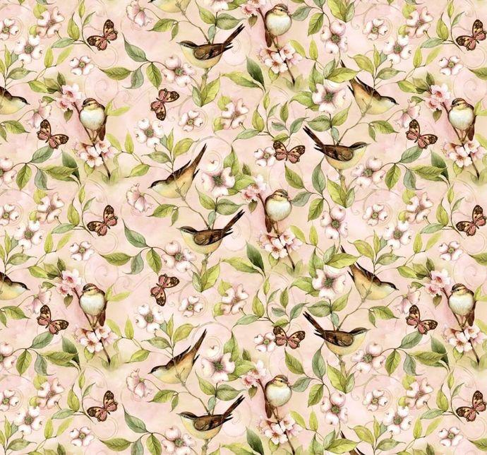 Cotton Quilt Fabric Bird on Vine' Rose Divine Mia for Mia Digital Blush Pink