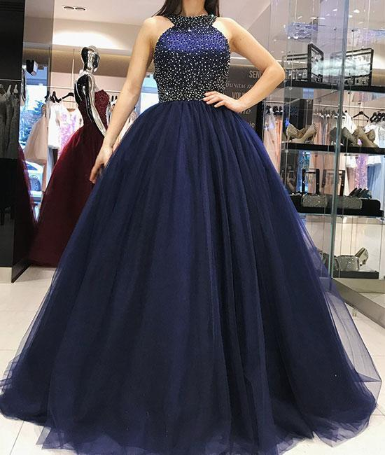 Charming Prom Dress,Tulle Prom Gown,Beading Prom Dress,O-Neck Prom Gown 828