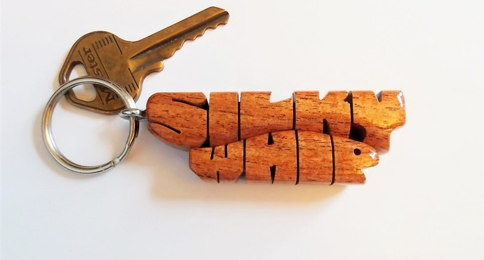 Wave Keychain in Mesquite Wood, Custom Carved to Order