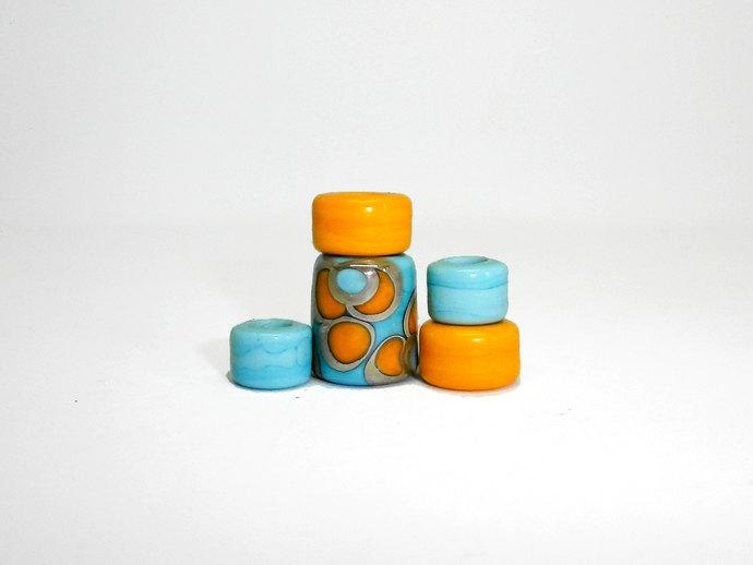 Hippie Focal Barrel Bead Set from my Lampwork Sari Silk Series