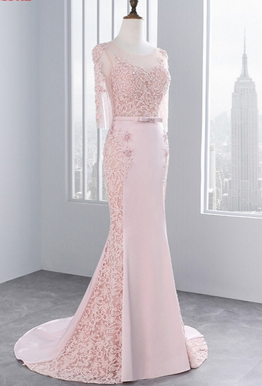 Pink,Middle Sleeves, Lace Prom Dresses, Mermaid Party Evening Dress for