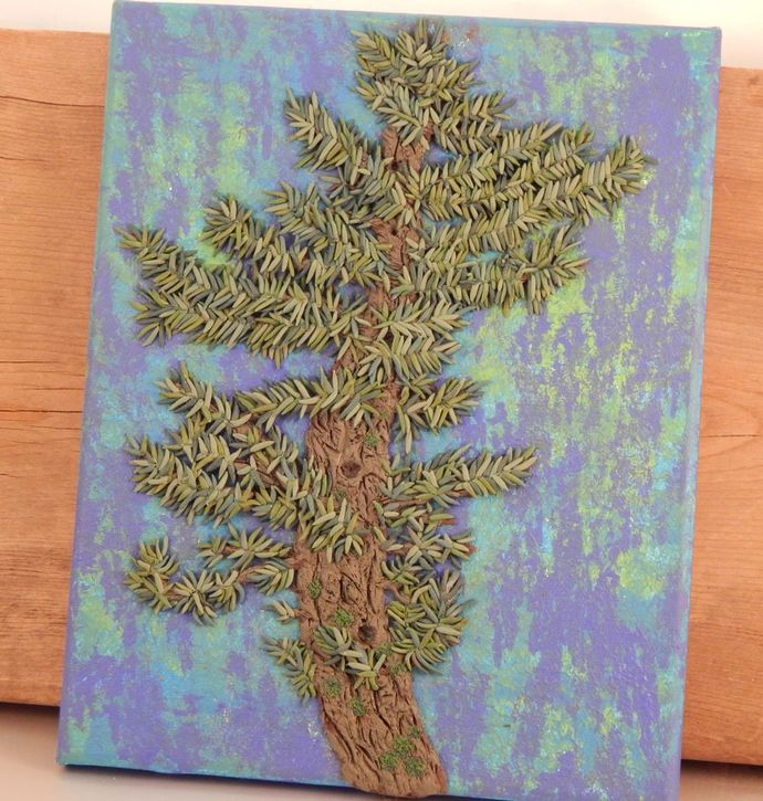 Lone Crooked Pine - Polymer Clay on Canvas Artwork