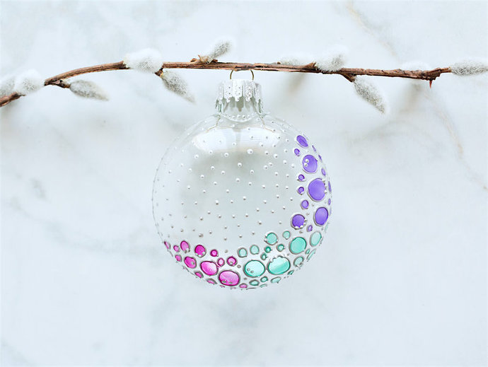 Hand-painted Glass Ornament-Glass Art-Stained Glass Look-Suncatcher-Bubbles