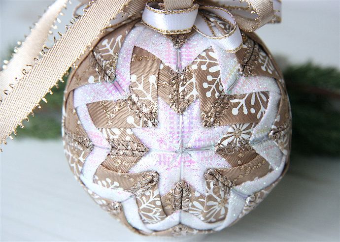 quilted christmas ornament ball champagne white snowflakes champagne wishes
