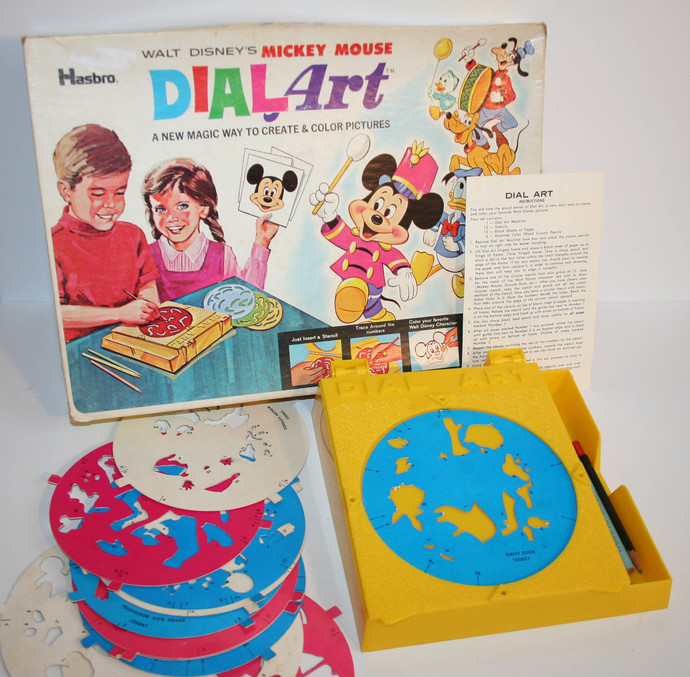 Vintage Walt Disney Dial Art Craft Kit Create Color Mickey Donald Goofy Minnie