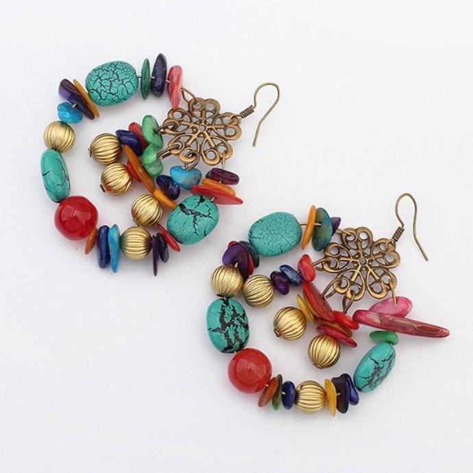 Colorful Bohemia Romantic Retro Gorgeous Rhinestone Round Beads Drop Earrings
