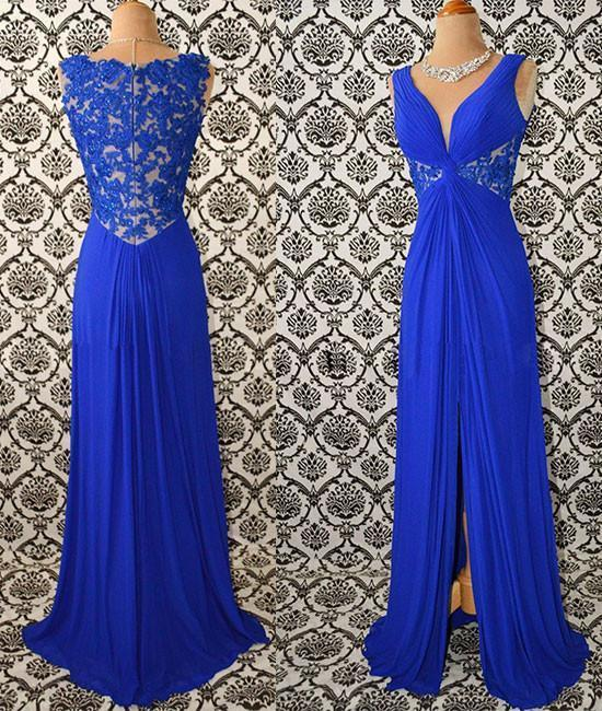 Charming Prom Dress,Chiffon Prom Gown,Lace Prom Dress,A-Line Prom Gown 835