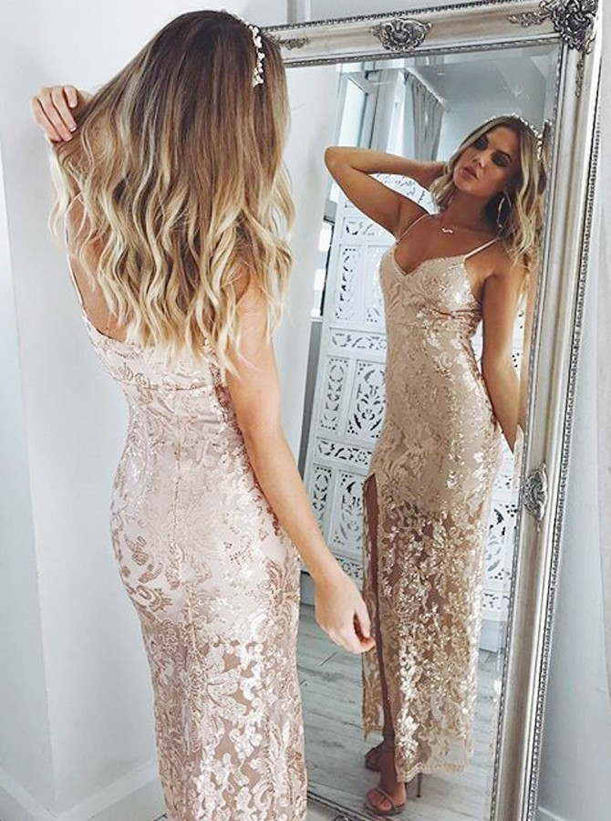 Charming Backless Prom Dresses Sheath Spaghetti Straps Floor-Length Champagne