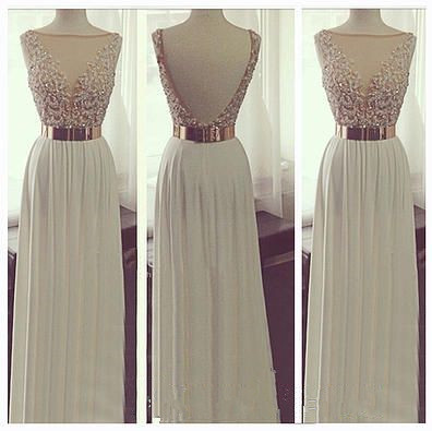 New Arrival White Chiffon Open Back Long Prom Dresses See Through Beadings